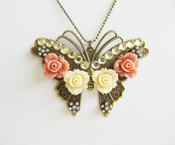 Butterfly pendant necklace, jewelry, peach, romantic, large, vintage style