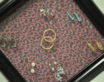 Pink Leopard Print Picture Frame Earring Holder Jewelry Organizer Upcycled Green