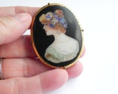 RESERVED Final Payment for Shani... Antique Large Intricately Hand Painted Lady Oval Porcelain Brooc