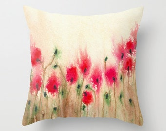 Decorative Floral Pillow Cover - Field of Poppies - Throw Pillow Cushion - Fine Art Home Decor