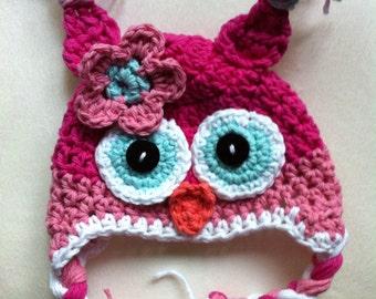 Owl hat crochet owl hat pink owl hat newborn photo prop toddler owl hat