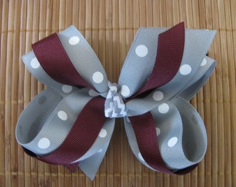 2517 Aggie maroon and gray and white dot double ribbon bow
