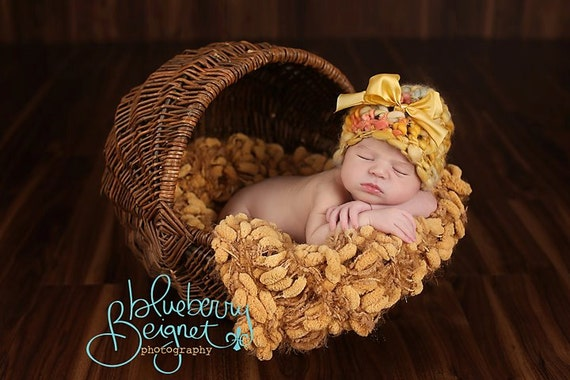 Newborn Photography Prop Dark Yellow Pom Pom Blanket 'Golden' Mustard Brown PomPoms