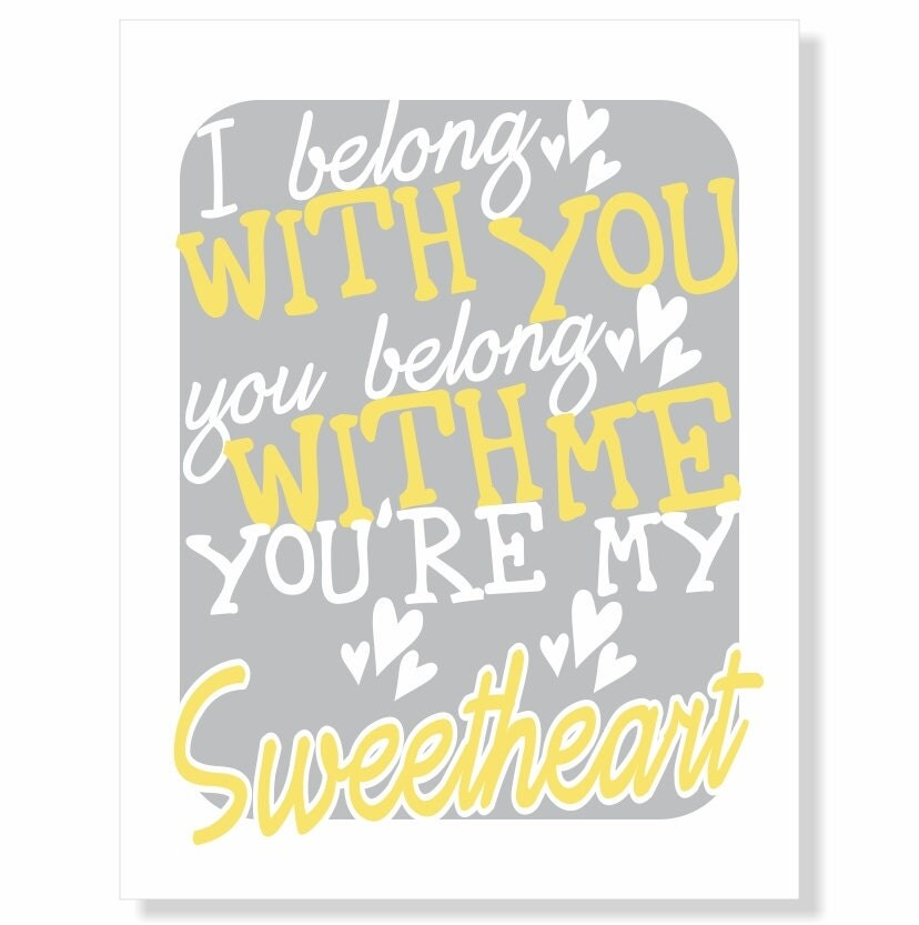 Typography art print you re my sweetheart love song