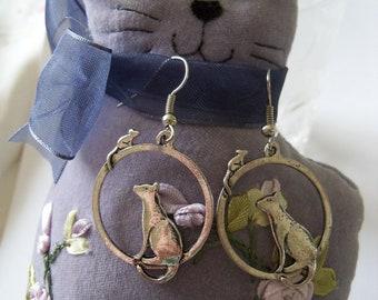Cat Earrings, Cat and Mouse, Hoops, Dangle Earrings