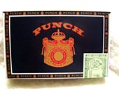 On Sale - Cigar Box for Crafting  - PUNCH - Medium size box - Black - Copper - Red - London Club