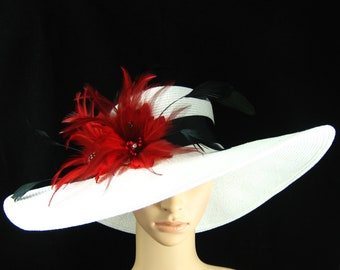 Kentucky Derby Hat with Black and Red feathers, White Wide Brim Hat, formal hat, Race Hat