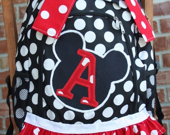 Girl's Backpack; Full Size; Polka dot, your choice of fabric