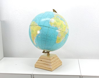 Upcycled Vintage World Globe - Handmade Base