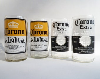 Beer Bottle Drinking Glasses Corona Light Extra Tumblers Set Of 4