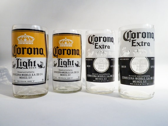 Beer Bottle Drinking Glasses Corona Light Extra Tumblers Set Of 2
