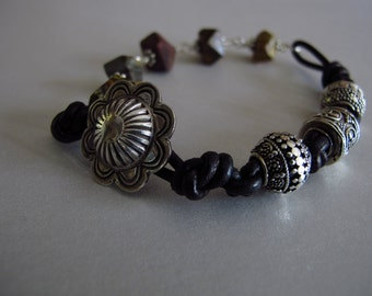 Earthy Red Brown Succor Jasper Decorative Sterling Silver Beads on Knotted Leather Bracelet