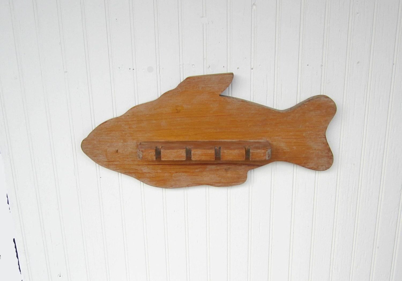 Vintage Fishing Rod Holder Wooden Fish Shaped Primitive