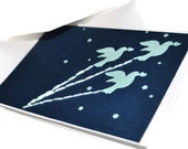 Set of two: Valentine The Little Price Flies with Doves hand embroidered OOAK card in blue