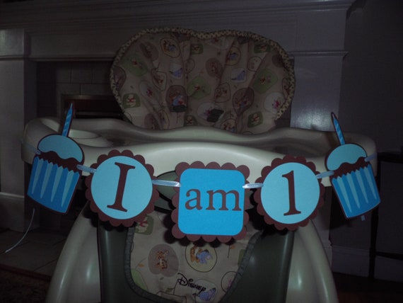 "BOY CUPCAKE Birthday high chair banner ""I am 1""  BOY birthday. first birthday. cupcake decorations, cupcake birthday. cupcake theme"