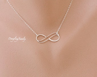 SILVER Double infinity necklace, Girlfriend necklace, eternity necklace, sister jewelry, Bridesmaid Gift, Gift for wife, Valentines Gift