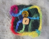 LAPEL PIN BROOCH Square multi color wool felted fiber vintage buttons red blue green pink  fashion accessory for hat scarf purse bag tote