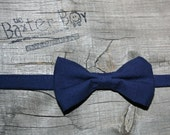 Solid Navy Bow Tie for little boys