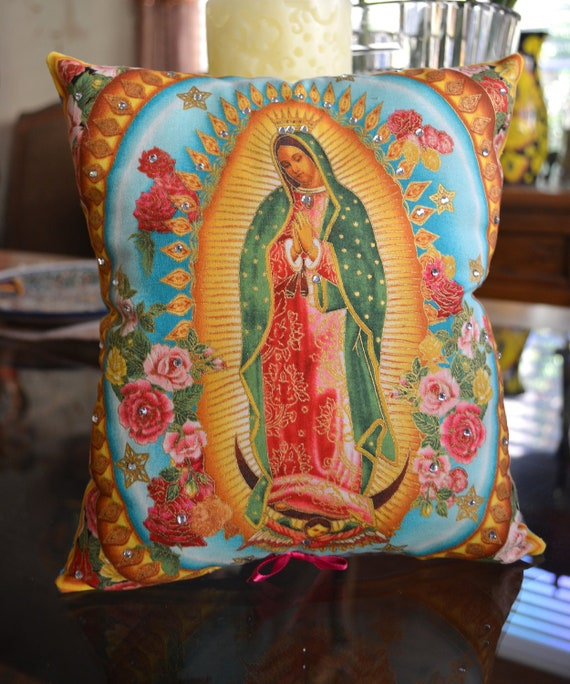 Virgin de Guadalupe  Multi- Colored Pillow -  Mother of Mexico - Rosary - Rhinestones