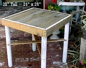"""CAFE' TABLE - FREE SHiPPiNG ~ Country Primitive ~ Lil' Balcony Table for Two, Right This Way!'' - Approx. 25"""" x 28"""" Top - 28"""" Tall - C It!"""