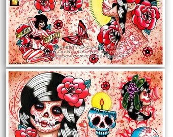 Set of TWO 11x17 Day of the Dead Tattoo Flash Sheets NO OUTLINES