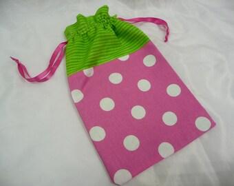 Cord Bag - Pink Polka Dot with Green