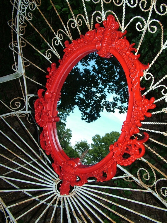 RED Ornate  Oval Wall Mirror 26 x 18 Heavy Resin Plaster OR CHALKBOARD No Extra Charge