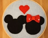 Minnie and Mickey Mouse Decorative Embroidery Hoop