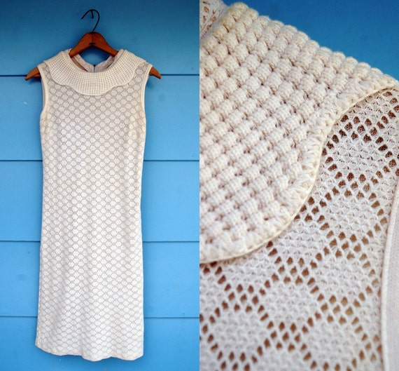 1960s. knit crochet wiggle dress with scalloped collar. s-m