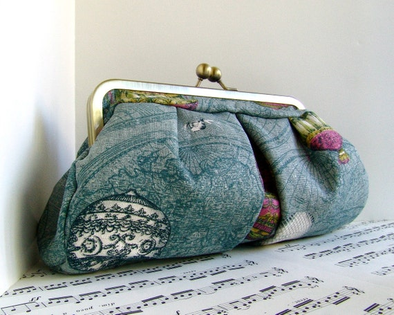 Clearance. Dusty blue clutch purse, vintage hot air balloons, OOAK,