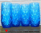 VTG Iced Tea Beverage Glasses 4ea Tall Blue (price shown is 20% off thru Jun 30)