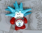 Thing 2 Polymer Clay Beads and Bow Centers, Jewelry, Charm, Pendant, Hai Bow Center
