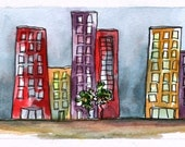 "Abstract Architectural Art Watercolor Pen and Ink 9"" x 3"" Whimsical Streetscape Original Red Purple Street Scene Wall Decor"
