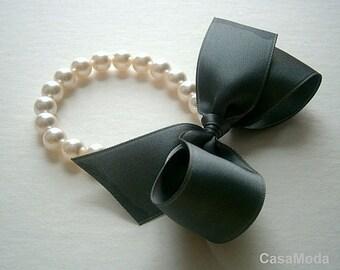Pearl Bracelet Bridesmaids Gifts White Swarovski Crystal Pearl Bracelet With Dark Grey Satin Bow