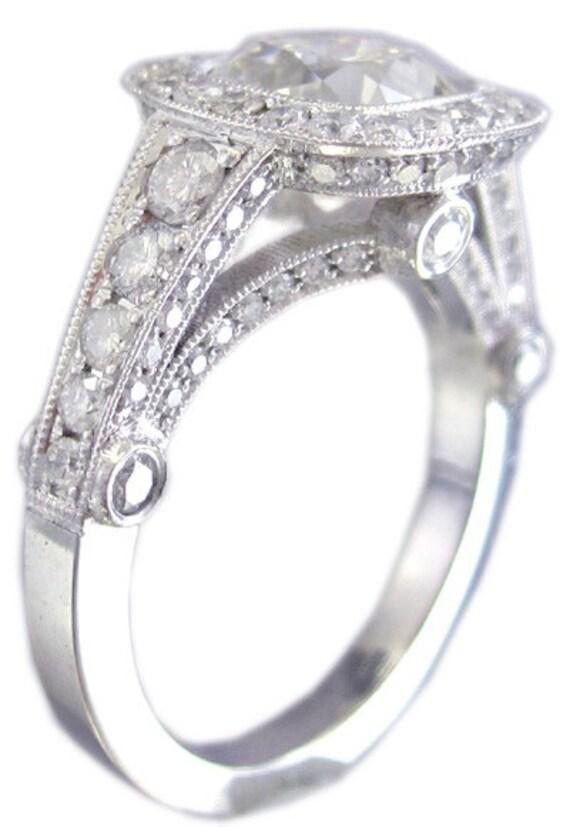 14k white gold cushion cut diamond engagement ring bezel set halo 1.88