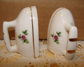 Vintage Salt and Pepper Shakers set -Bone China Iron shaped Salt and Pepper with Pink flowers