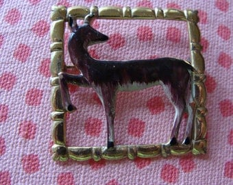 Costume Jewelry - Vintage signed Coro Brooch - deer or doe brooch Script Coro - gold frame with brown Doe