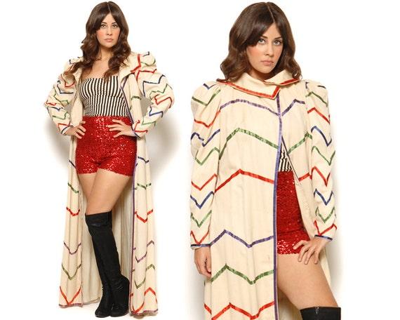 40s Duster Jacket Opera Coat Zig Zag Stripe Cloak Stagecraft Studios Victorian Ribbons Circus Costume / Size M L Medium Large