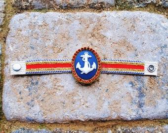 Sale Nautical Anchor Salior Thin Cotton Woven Friendship Bracelet Trim Crystal Embellished