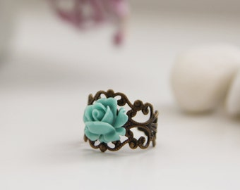 Romantic Turquoise Rose on Vintage Filigree Ring (VRG-44)