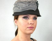 Vintage 1950s Hat Gray Tones Velvet MILLINERY SALON