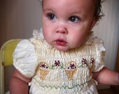 Vintage Polly Flinders hand smocked baby dress - WittyVintage