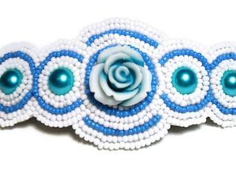 Beaded Hair Barrette - Blue - Hair Barrette - Rose