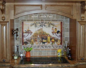 french country kitchen backsplash tile mural by lindapaul