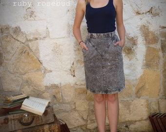 Vintage 80's Acid Wash Pencil Skirt