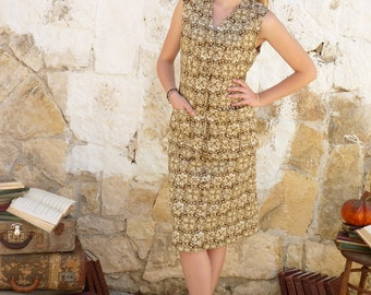 Vintage Two Piece Double Flower Knit Two Piece Dress