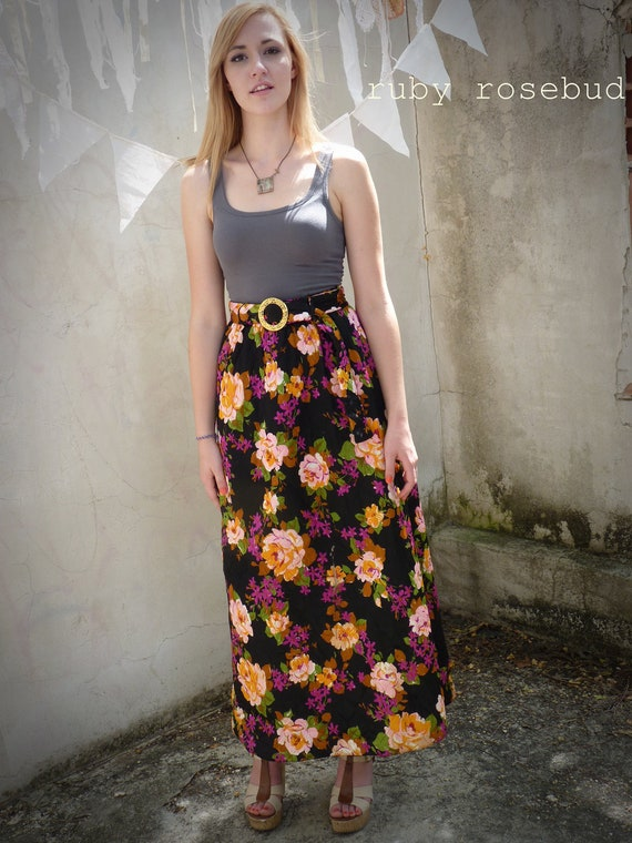 Long Floral Roses QUILTED Maxi Skirt