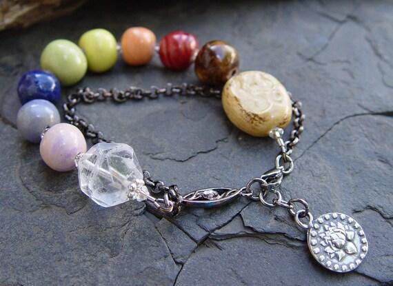 Meditation -- Om Chakra Porcelain Beads Rainbow Pewter Lotus Om Charm Gunmetal Handmade Bracelet Yoga Jewelry