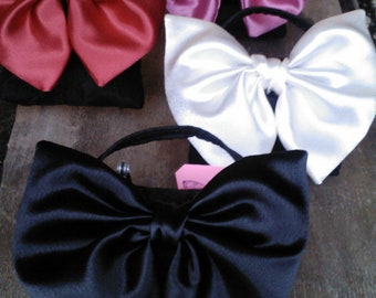 Satin Bow Evening Bag with Magnetic Closure