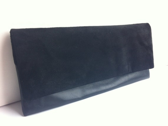 Reserved Foldover leather and suede clutch bag, large, black